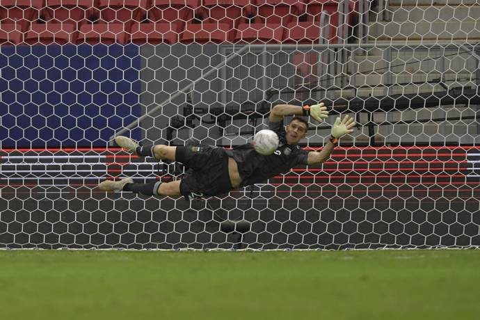 Emiliano Martinez saving a penalty in the Copa America finals