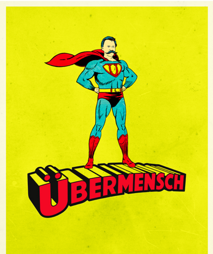 A comic book illustration of the Übermensch.  Nietzsche's philosophy for youths - 4 ways to improve your life.
