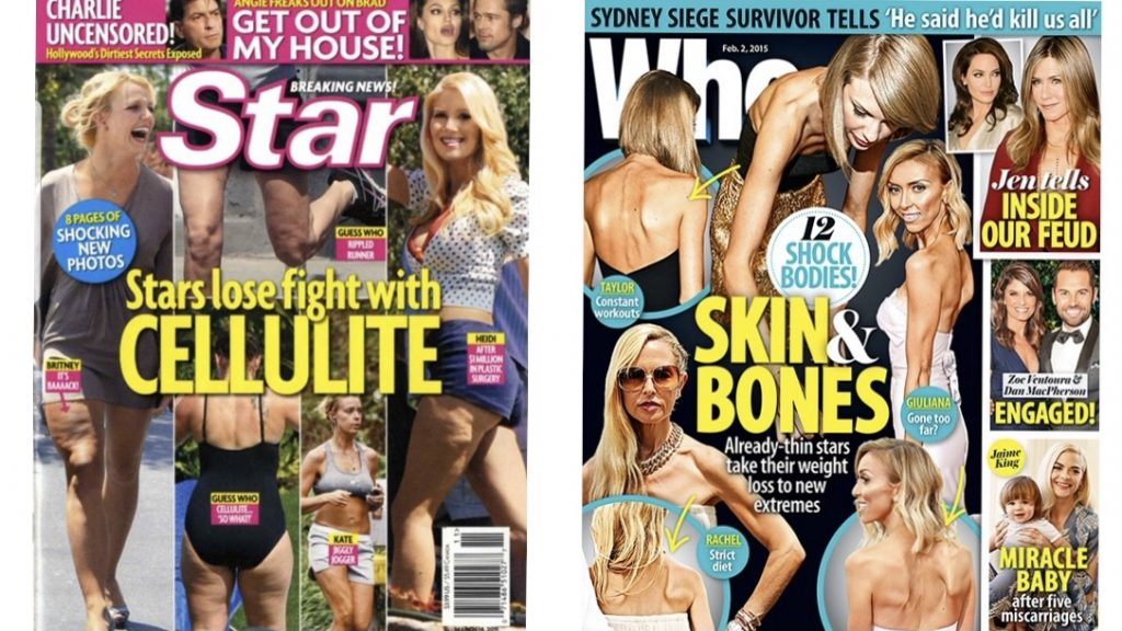 Body shaming in the fashion and entertainment industry: Tabloid magazines pointing out the weight of celebrities. Photo Credits: Star Magazine and Who Magazine.