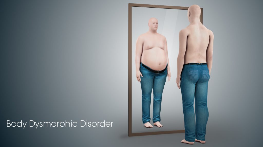 Animated example of body dysmorphic disorder, where a thin male sees himself as obese. Photo Credit: Scientific Animations.